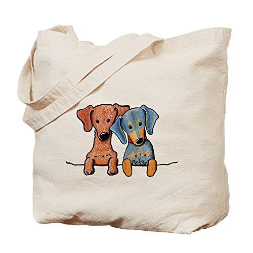 Cafepress–tasca Doxie Duo–Borsa di tela naturale, tessuto in iuta