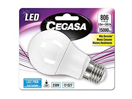 Cegasa - Bombillas E27 LED 5000 K 9W, 230V, 806lm, Blanco