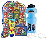 Super Mario Brothers 5pc Summer Camp Grab & Go Drawstring Backpack! Includes Resuable Tote, Water Bottle, Wallet & Earbud Headphones! Plus Bonus Kids Sunscreen!