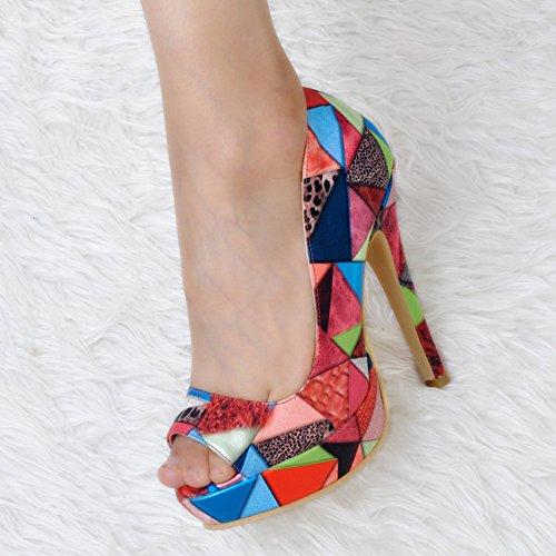 Schnitt lederne Partei 13cm Kolnoo Schuhe Plattform Faschion Patchwork Absätze Niedrig Damen hohe pWWUvgOn