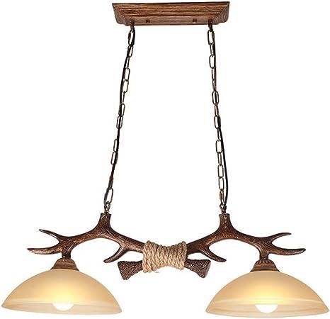 Kbest Retro Vintage Suspension Double Bois Resine Lampe Lustre En