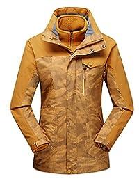 Women's 3in1 Camouflage Waterproof Jacket with Linner Hooded Outdoor Sport Coat