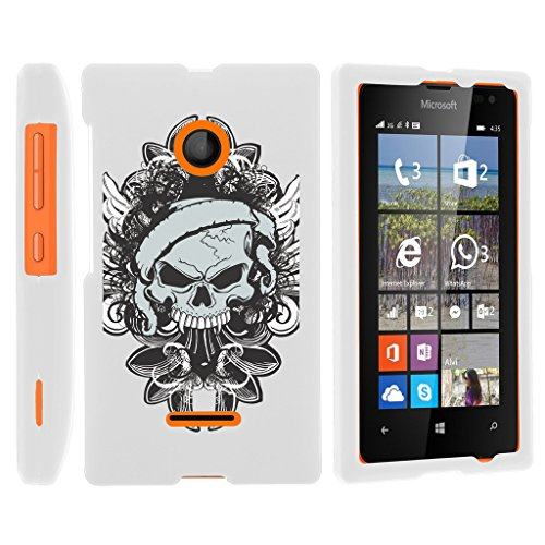 Miniturtle [Microsoft Lumia 435, Lumia 435 Slim Cover] -[Snap Shell] Slim 2 Piece Rubberized Coat Hard Cover Lightweight Snap On White Case - Demon Skull (White Skulls Snap Rubberized)