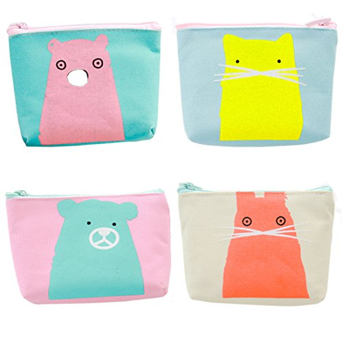 - Oyachic 4 pcs Canvas Coin Purse Zipper Change Pouch Mini Wallet Gift for Women and Girls (Bear and rabbit)