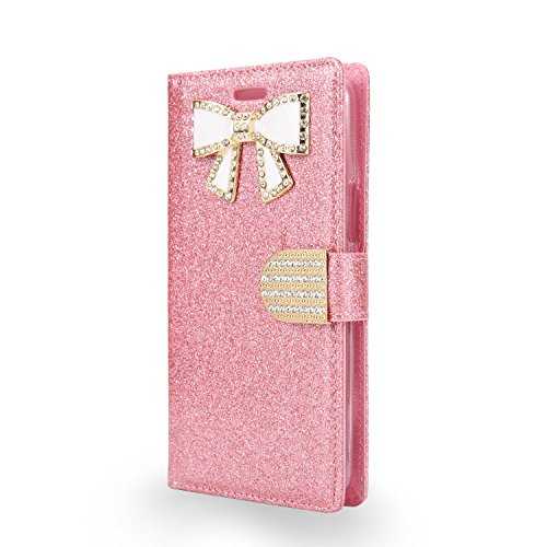 Motorola Moto E4 Wallet Case With Shiny Pu Leather Sparkle Rhinestone Diamonds Butterfly Design [Card Slot] Stand Flip for Girl Wallet Phone Case ( WBL Hot Pink ) (Cases For Girls Motorola Phone)