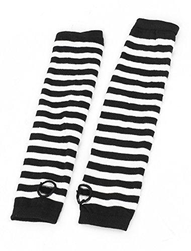 White Black Stripe Print Stretchy Fingerless Arm Warmers Gloves Pair (Stripe Arm)