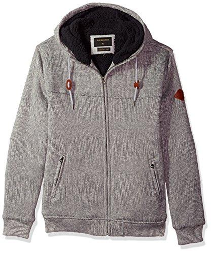 Quiksilver Men's New Cypress Snap Full Zip Sweatshirt, Light Grey Heather, S