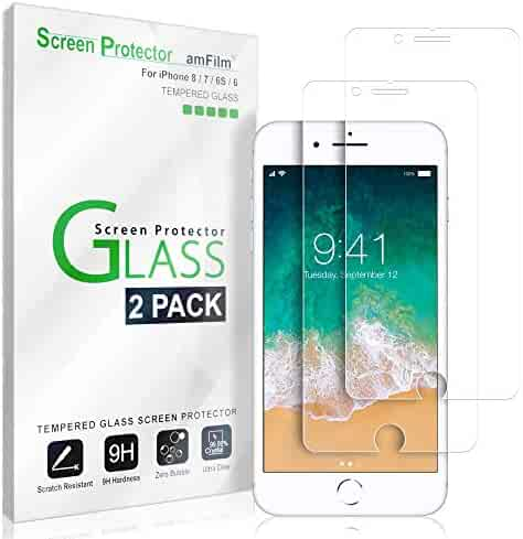 iPhone 8, 7, 6S, 6 Screen Protector Glass, amFilm Tempered Glass Screen Protector for Apple iPhone 8, 7, iPhone 6S, iPhone 6 [4.7