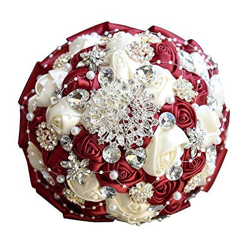 Sevem-D Nice Rhinestone Burgundy Bridal Bouquets Wedding Bouquet Bridal Bouquet Wedding Flowers Bridal Bouquets,Red