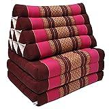 Thai mattress 3 folds with triangle cushion, relaxation, beach, pool, meditation garden Bordeaux/Pink (81403)