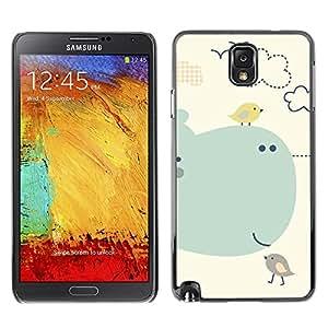 TopCaseStore / la caja del caucho duro de la cubierta de protección de la piel - Cartoon Kids Children Whale Sea Birds - Samsung Galaxy Note 3 N9000 N9002 N9005