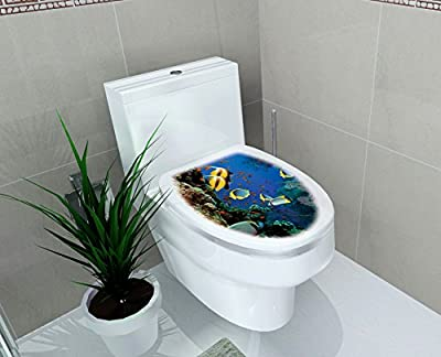 """DNVEN (14""""w X 16""""h) Tropical Under the Sea Scenery Ocean Bathroom Toilet Seat Lid Cover Decals Stickers"""