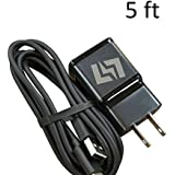 FAST Charger for Samsung Galaxy S9 S9+ S8 S8+ Note 8 + 5 Foot Type C USB-C Data Charging Cable - Black QuickCharge 3.0