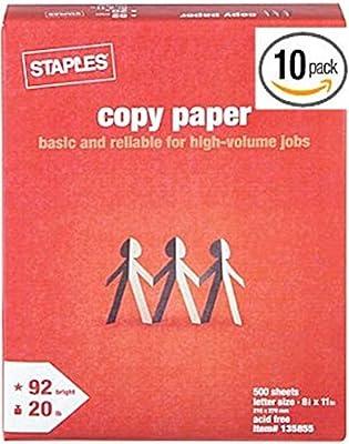 Staples Brand Copy Paper, Multiuse Laser Inkjet Printer Fax, 8 1/2 Inch x 11 Letter Size, 20 lb. Density, 92 Bright White, Acid Free, Ream, 500 Total Sheets (135855)