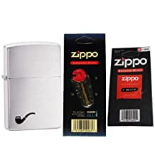 Zippo 200PL Pipe Insert Brushed Chrome Windproof Lighter with One Flint Card and One Wick Card