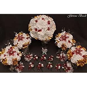 Burgundy and Gold Beaded Lily Wedding Flower 17 piece set with White and Gold Roses ~ Unique French beaded flowers and beaded sprays. Includes Bouquets Corsages and Boutonnieres 34
