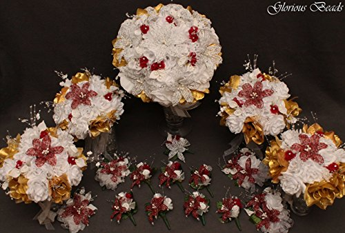 Burgundy and Gold Beaded Lily Wedding Flower 17 piece set with White and Gold Roses ~ Unique French beaded flowers and beaded sprays. Includes Bouquets Corsages and Boutonnieres
