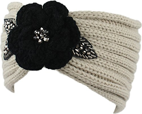 Ababalaya Women's Warm Stretchable Sequins Flower Wide Crochet Headband Knit Hairband,Beige