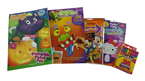 "[Halloween Bundle Gift for Kids | 5 Items Included: ""Pumpkin Patch Fun"" 400-page Coloring Book, ""Decorate a Pumpkin"" Sticker & Coloring Book, Mickey & Hello Kitty Play Packs & Box of 24 CraZart Crayons] (Halloween Decor Gets Too Real)"