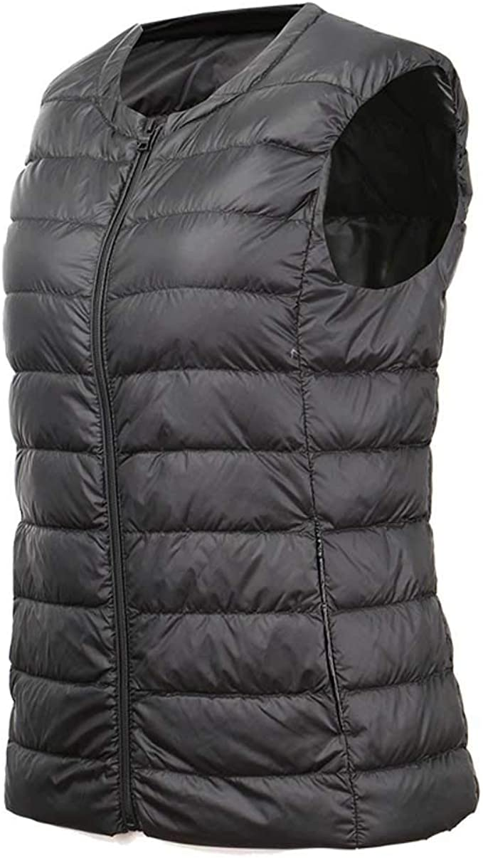 Down Vest Womens Lightweight Thin Sleeveless Short Winter Large Size Adult Casual No Cap Color : Gray, Size : XXL