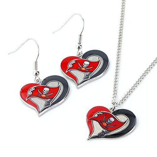 NFL Tampa Bay Buccaneers Swirl Heart Earrings & Pendant Set