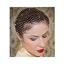 S&E® Women's Elegant Birdcage Veil Lace Hat,Wedding Bridal Hair Clip With Comb White