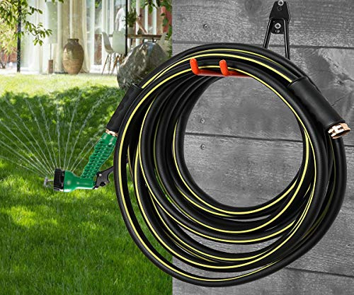 COCONUT 30 ft Garden Hose, Water Hose with 7 Function Spray Nozzle Gun - 5/8 inch Flexible Heavy Duty Water Pipe for Car Wash, Garden Watering, Patio Lawn House Cleaning (Black)