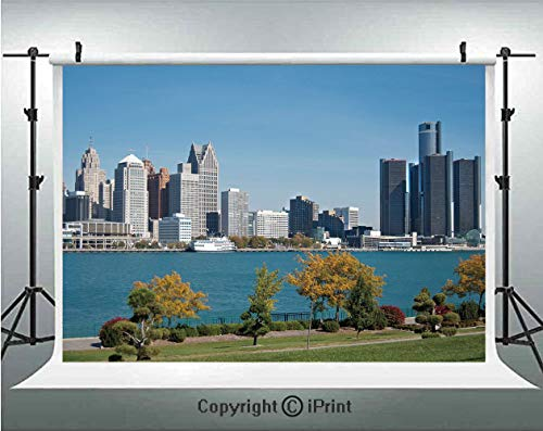 (Detroit Decor Photography Backdrops Industrial City Center Shoreline River Scenic Panoramic View Sunny Day Decorative,Birthday Party Background Customized Microfiber Photo Studio Props,5x3ft,Blue Gree)