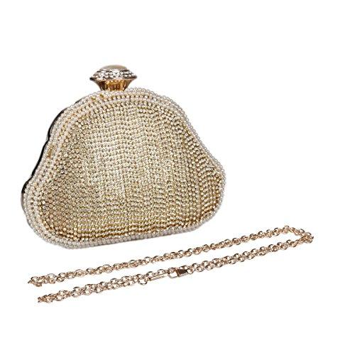 Gold Clutch Womens Luxurious Shaped Tassels Damara Shell Wedding Crystal RfwqxSO