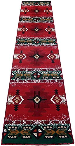 KJGRUG Runner Southwestern Apache Woven 3x16 Area Rug Red Green Actual Size 2'8 x 15'5