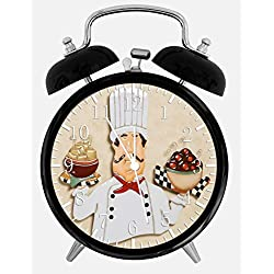 Chef Twin Bells Alarm Desk Clock 4 Home Office Decor W367 Nice for Gifts