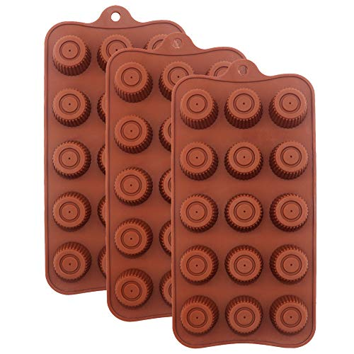 Chocolate Molds Silicone Round Candy Making Mold Reusable Silicone Baking Bar Molds Making Kit, Set of 3 Chocolate Dessert Molds for Kids, 15-Cavity of Each