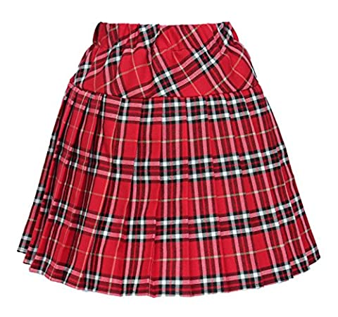 Women`s Elasticated Plaid Pleated Skirt Plus size Costumes(XL, Red white) - Pleated Plaid Mini