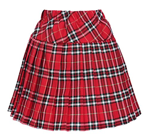 Costumes Scotland (Women`s Elasticated Plaid Pleated Skirt Plus size Costumes(XL, Red white))