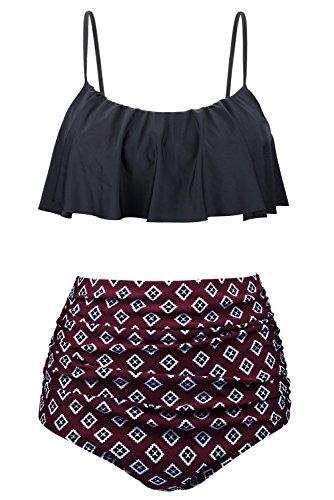 EasyMy Womens Vintage High Waisted Flounce Padded Bikini Set Swimsuit, Purple, US 10-12=Tag Size 2XL
