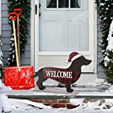 Glitzhome 21.93' L Wooden Metal Dachshund Standing Front Door Porch Sign Christmas Welcome Sign Outdoor Indoor Welcome Joy Sign Xmas Holiday Decorations
