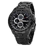 Fanmis Black Stainless Steel Luxury Sport Analog Quartz Clock Mens Wrist Watch