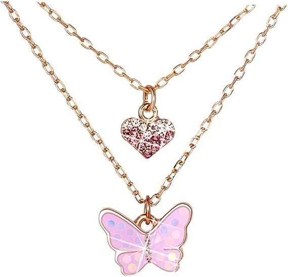 Collier 925 Sterling Argent Enfants Fille Cristal Papillon Pendentif