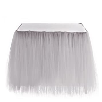 amazon com 2 pcs elegant fluffy tulle table skirt wedding table