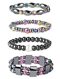 Jstyle 4Pcs Hematite Powerful Magnetic Bracelet for Arthritis Pain Releif Energy Reiki Healing Bracelet for Men Women