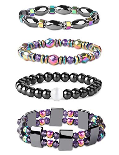 Jstyle 4Pcs Hematite Powerful Magnetic Bracelet