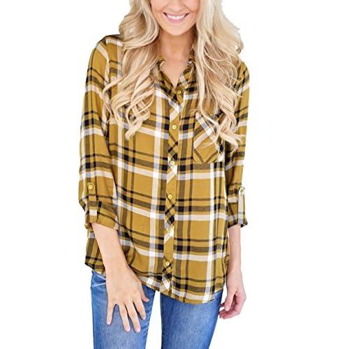 7271b7b85 new Grace Elbe Women's Casual Loose Cuffed Sleeve Plaid Button Down Shirt