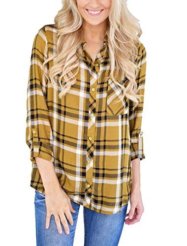 (Grace Elbe Women's Collared Cuffed Sleeve Plaid Flannel Shirt Yellow Medium )