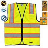 KwikSafety Class 2 Safety Vest High Visibility Reflective Safety Vests with Pocket Front Zipper for Construction Reflective Contrasting Trim Meets ANSI/ISEA 107-2010 Class 2 Level2 Yellow Size 3XL
