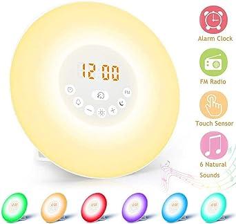 LED Wake-Up Licht Touch Sensor Nachttischlampe Sonnenaufgang Wecker Bunt Nacht