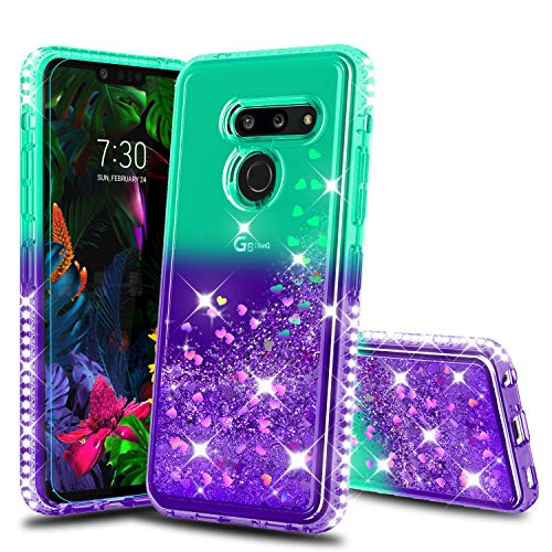 LG G8 Phone Case, G8 ThinQ Case with HD Screen Protector for Girls Women, Atump Diamond Glitter Liquid Shockproof Anti- Scratch Phone Cover Case for LG G8 Green/Purple