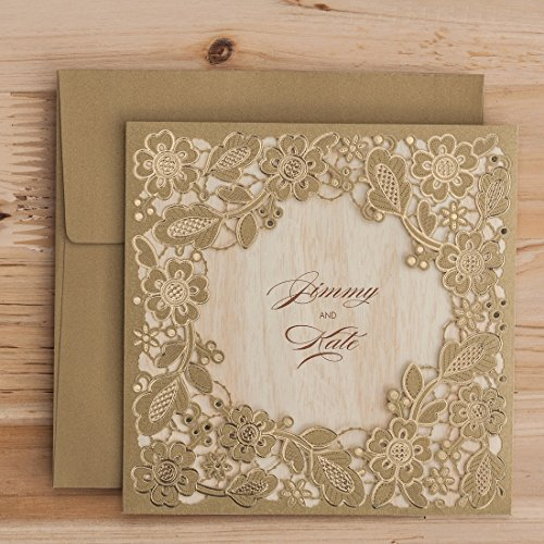 WISHMADE Tri Fold Laser Cut Wedding Invitations Cards Kits Square with Hollow Gold Floral Invitation Pocket Bridal Shower Engagement Birthday Baby Shower Supplies Quinceanera (1 Piece Sample)