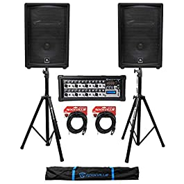(2) JBL Pro JRX212 12″ 2000w PA/DJ Speakers+Powered Mixer w/Bluetooth+Stands