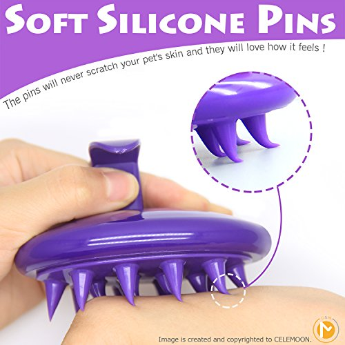 Soft-Silicone-Pins-CELEMOON-Ultra-Soft-Silicone-Washable-Cat-Grooming-Shedding-Massage-Bath-Brush-Safe-No-Scratching-any-more-Purple