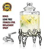 lemonade dispenser glass - Elegant Hammered Glass Beverage Dispenser with Scroll Iron Stand - 2.25 Gallon - Stainless Steel Leak Free Spigot Included - Home Bar & Party Vintage Drink Dispenser (Black)